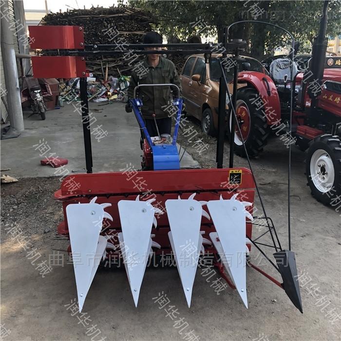 加高割台玉米秸秆收割机 微型稻麦割晒机