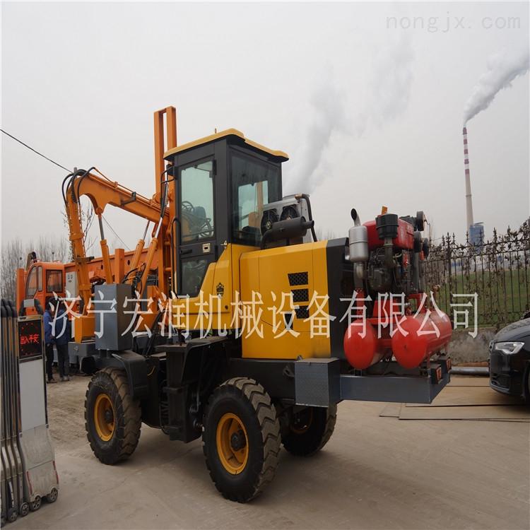 宏润牌高速公路波形护栏打桩机  液压公路护栏钻孔机发往陕西一台